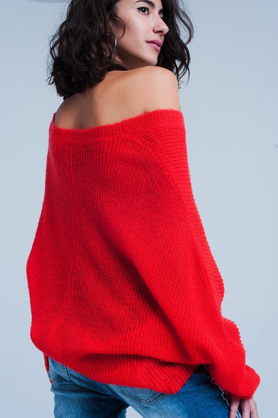 Red V Neckline Knitted Sweater