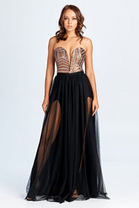 Bronze Strapless Sequin Corset Tulle Dress