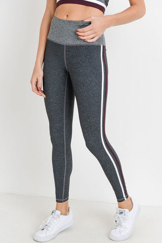 High-waist Grey Shades Striped Full Leggings