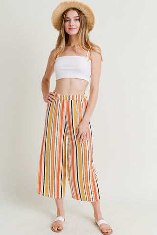 Mustard Multi-Colored Striped Gaucho Pants