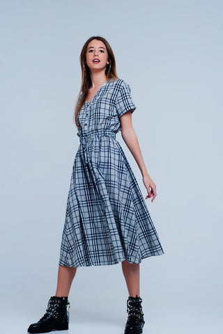 Grey Midi Plaid Print Dress