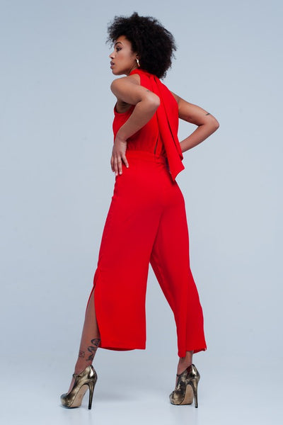 Red Side Slit Jumpsuit