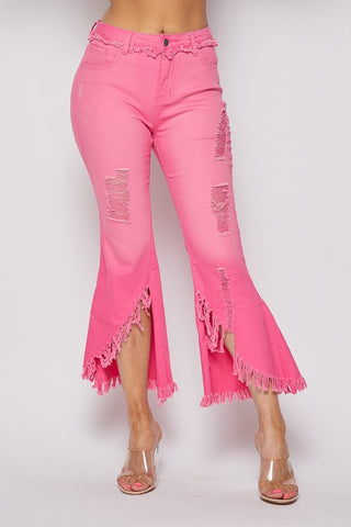 Pink Frayed Detail Cropped Jeans