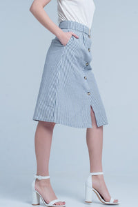Blue Striped Button Front Skirt