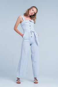Striped Square Neckline Jumpsuit