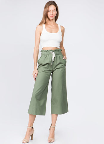 Olive Paper-bag Wide Leg Pants