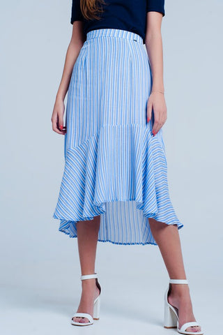Blue Striped Print Midi Skirt