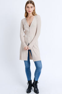 Oatmeal Long-line Ribbed Cardigan
