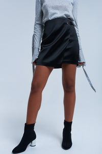 Black Mini Skirt with Buckle Detail