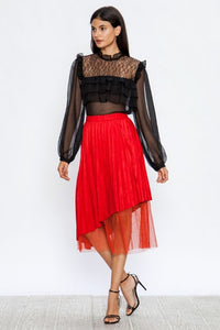Red Faux Suede Pleated Skirt