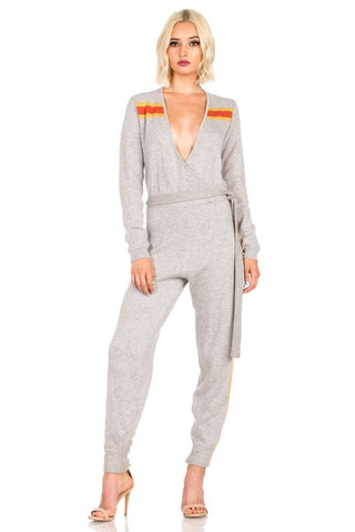 Grey Knit Retro Style Jumpsuit