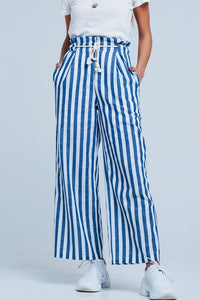 Blue Tapered Rope Tie Striped Pants