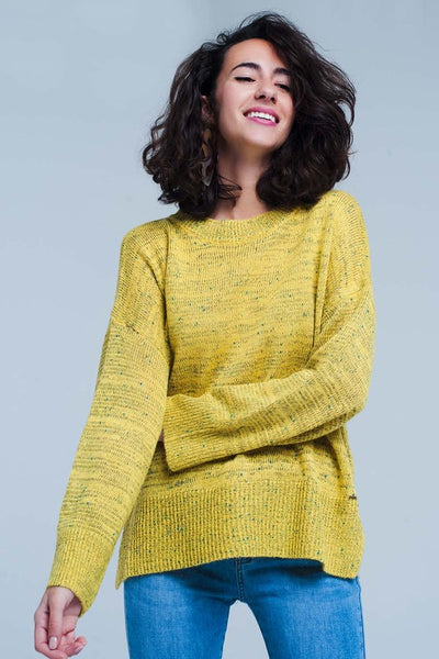 Mustard Fleck Knitted Relaxed Sweater