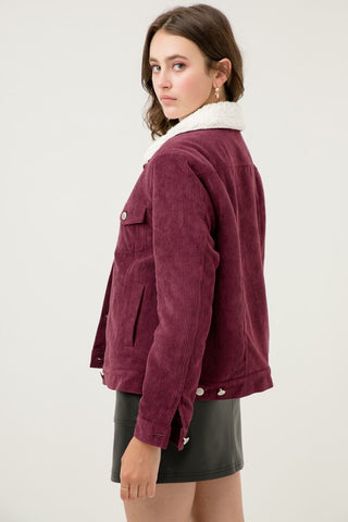 Burgundy Fleece Lined Corduroy Jacket