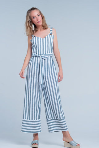 Green Belted Striped Print Jumpsuit