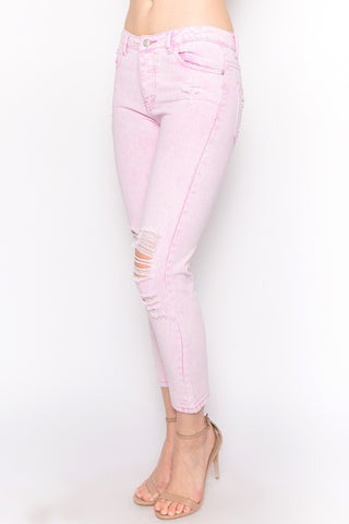 Acid Pink Distressed Knees Jeans