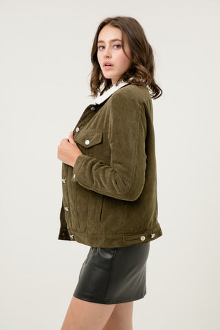 Olive Fleece Lined Corduroy Jacket