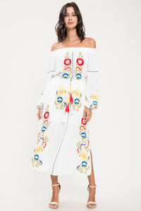 Ivory Embroidery Midi Dress