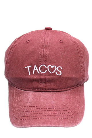 Burgundy Love Tacos Cap