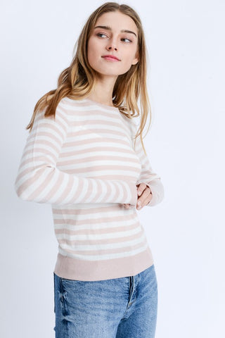 Pink Striped Knit Top