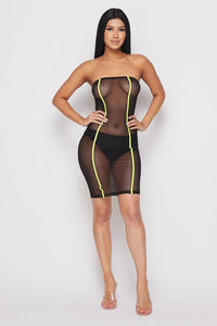 Black Mesh Neon Body-con Dress