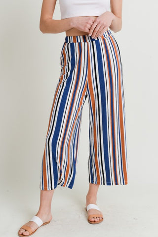 Blue Multi-Colored Striped Gaucho Pants