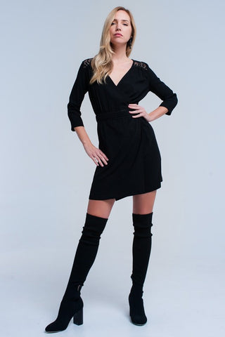 Black Lace Insert Wrap Dress