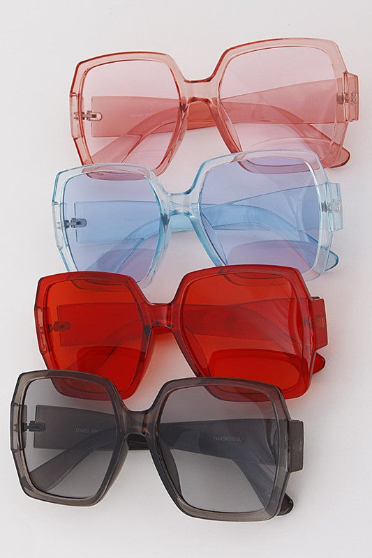 Over Sized Colored Square Sunglasses - Nofashiondeadlines