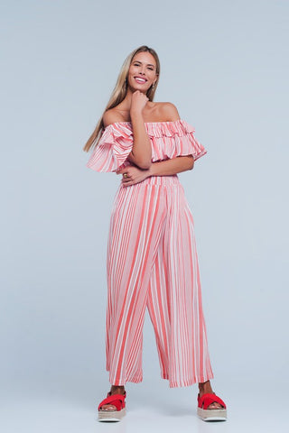 Pink Off The Shoulder Striped Jumpsuit
