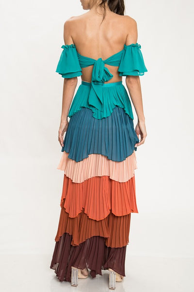 Multi Color Tiered Two Piece Maxi Skirt Set - Nofashiondeadlines