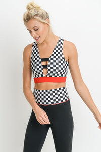 Drag Race Colorblock Strap Sports Bra - Nofashiondeadlines