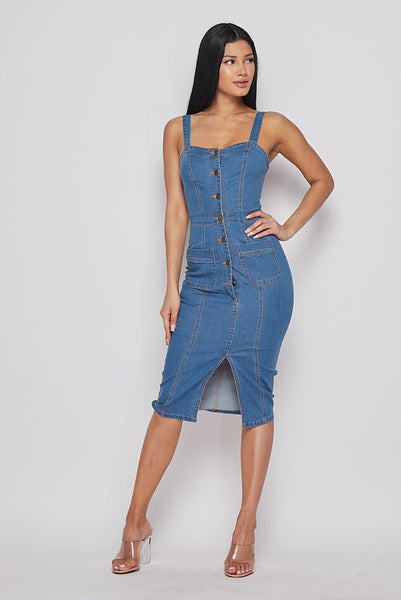 Blue Sleeveless Button Front Denim Dress