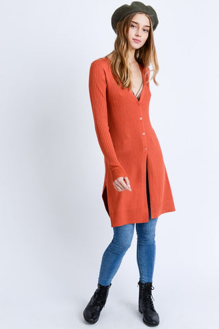 Rust Long-line Ribbed Cardigan