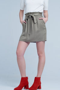 Khaki Paper Bag Style Mini Skirt