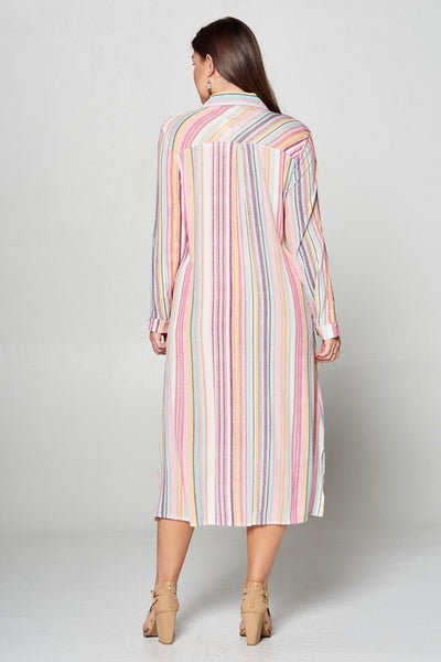 Plus Size Striped Button Midi Dress