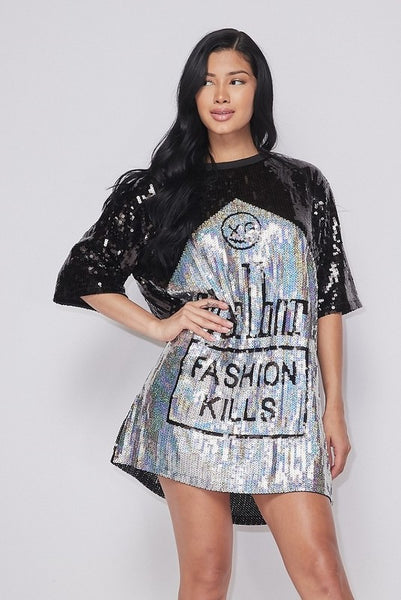 Fashion Kills Sequin Over-Sized Top