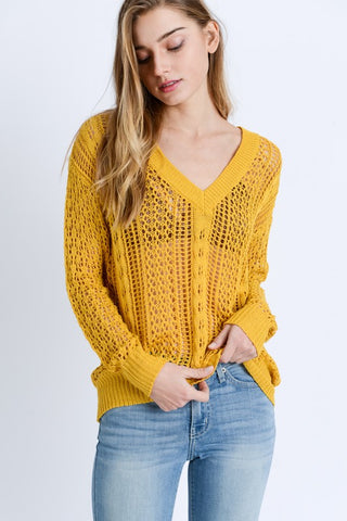 Yellow V Neckline Open Knit Sweater