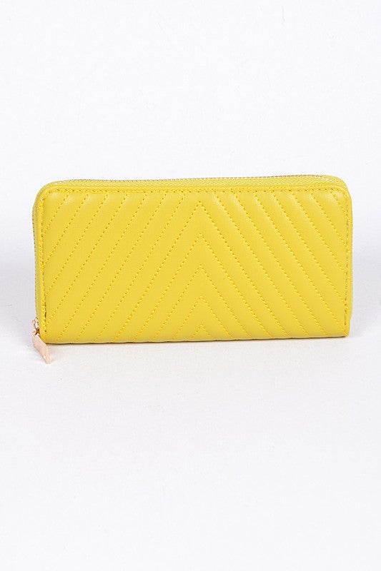 Yellow Quilted Style Simple Wallet