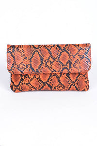 Orange Snakeskin Clutch