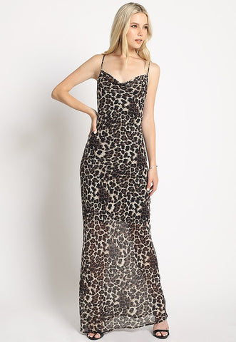 Sleeveless Leopard Cami Maxi Dress