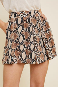Pleated Snakeskin High-Rise Short