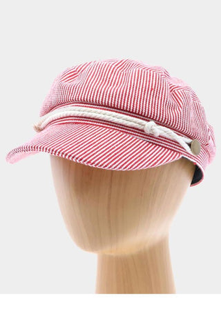 Red Sailor Striped Captain Hat