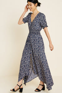 Navy Floral Ruched Waist Dress