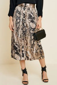 Snake Print Button Down Midi Skirt
