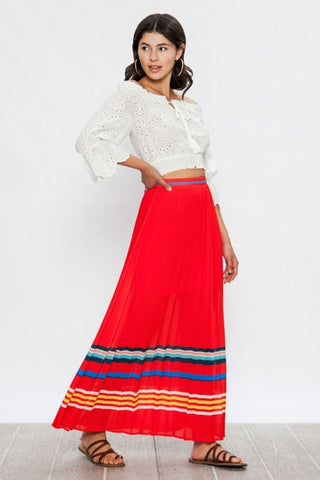 Red Pleated Striped Maxi Skirt