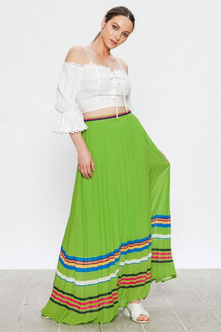 Green Pleated Striped Maxi Skirt