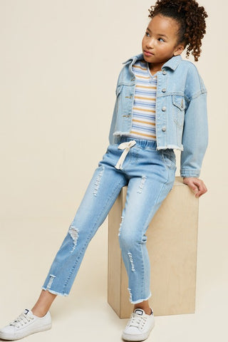 Girls Distressed Drawstring Denim Jeans