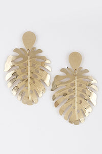 Gold Metal Leaf Fashion Earrings