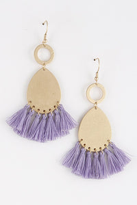 Light Purple Teardrop Tassel Earrings