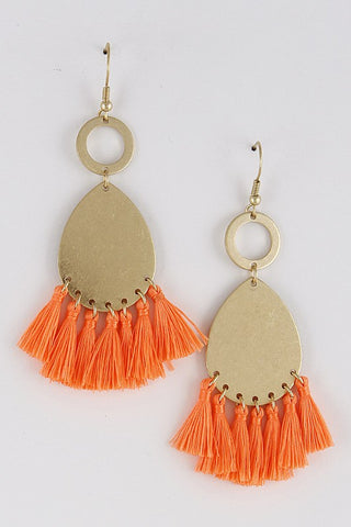 Neon Orange Teardrop Tassel Earrings